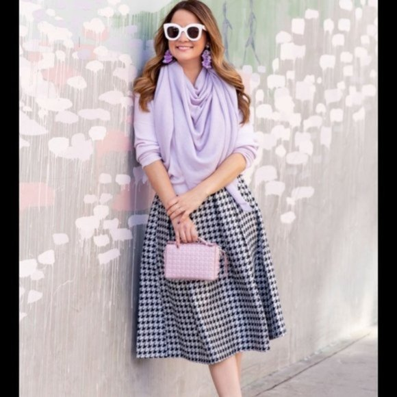 Vintage Pleated Houndstooth Skirt l Size 6